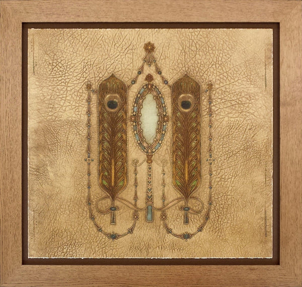 Peacock Feather Medallion Ornament - Framed Antique Wallpaper Art
