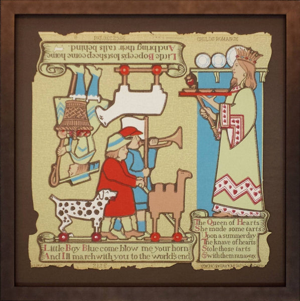 """Childs Romance"" Nursery Rhyme Figures - Framed Antique Wallpaper Art"