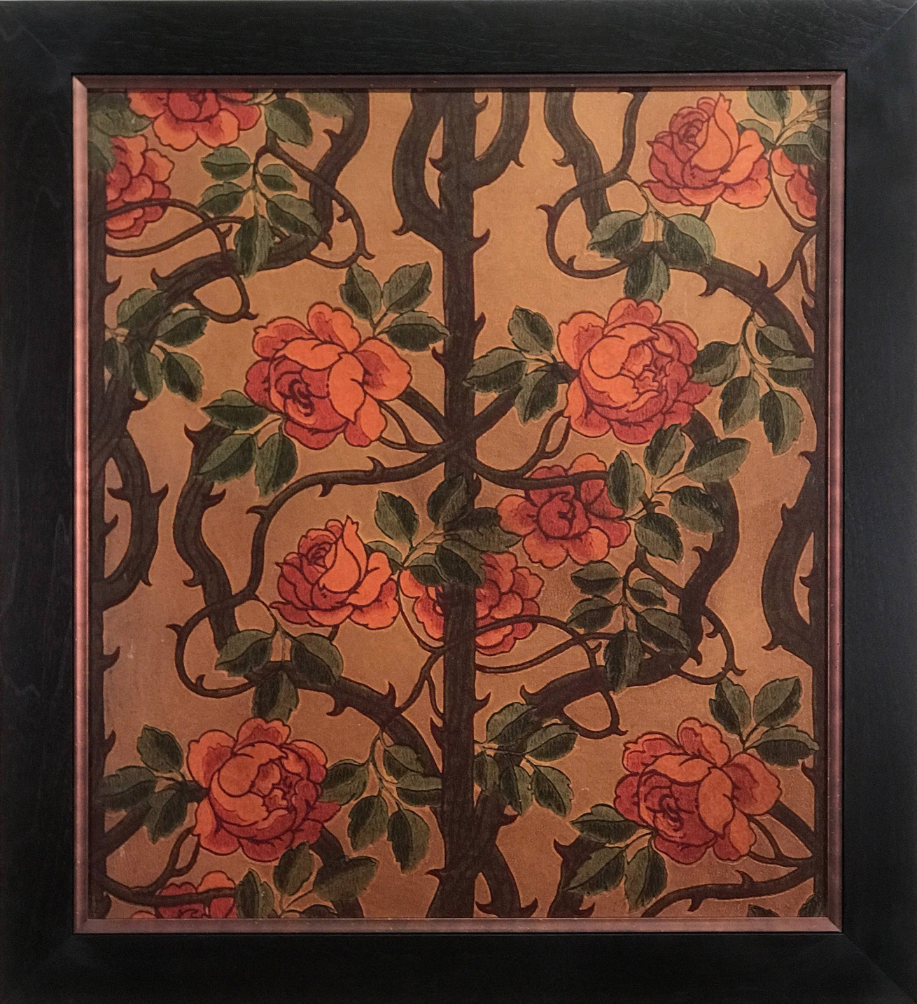 Antique Gilt Climbing Rose Vine - Framed Antique Wallpaper Art-Sold