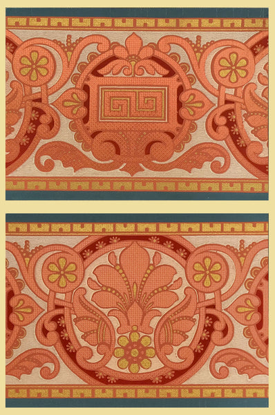 Aesthetic Foliate Border Diptych - Mounted Antique Wallpaper Panel