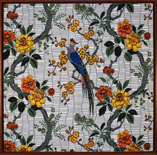 Bird and Flowers - Framed Antique Wallpaper Art - Sold