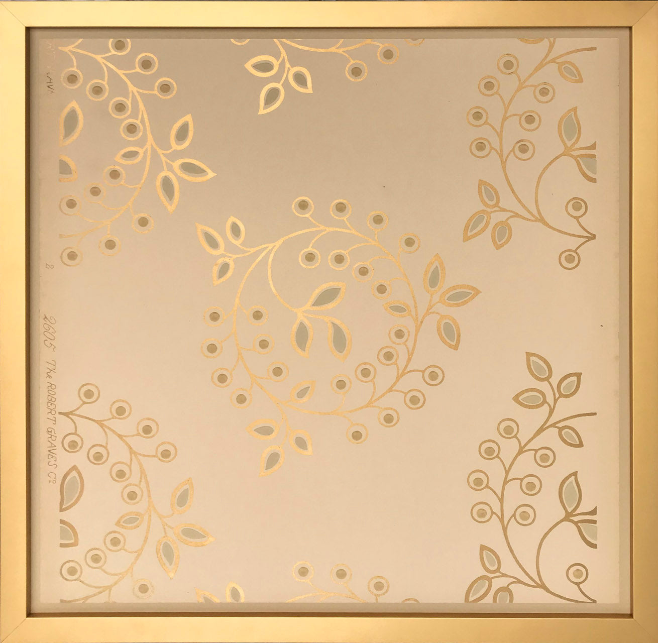 Gilt Circles with Leaves- Framed Antique Wallpaper Art