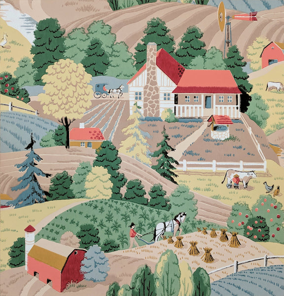 Farm Scene - Mounted Antique Wallpaper Panel - Sold