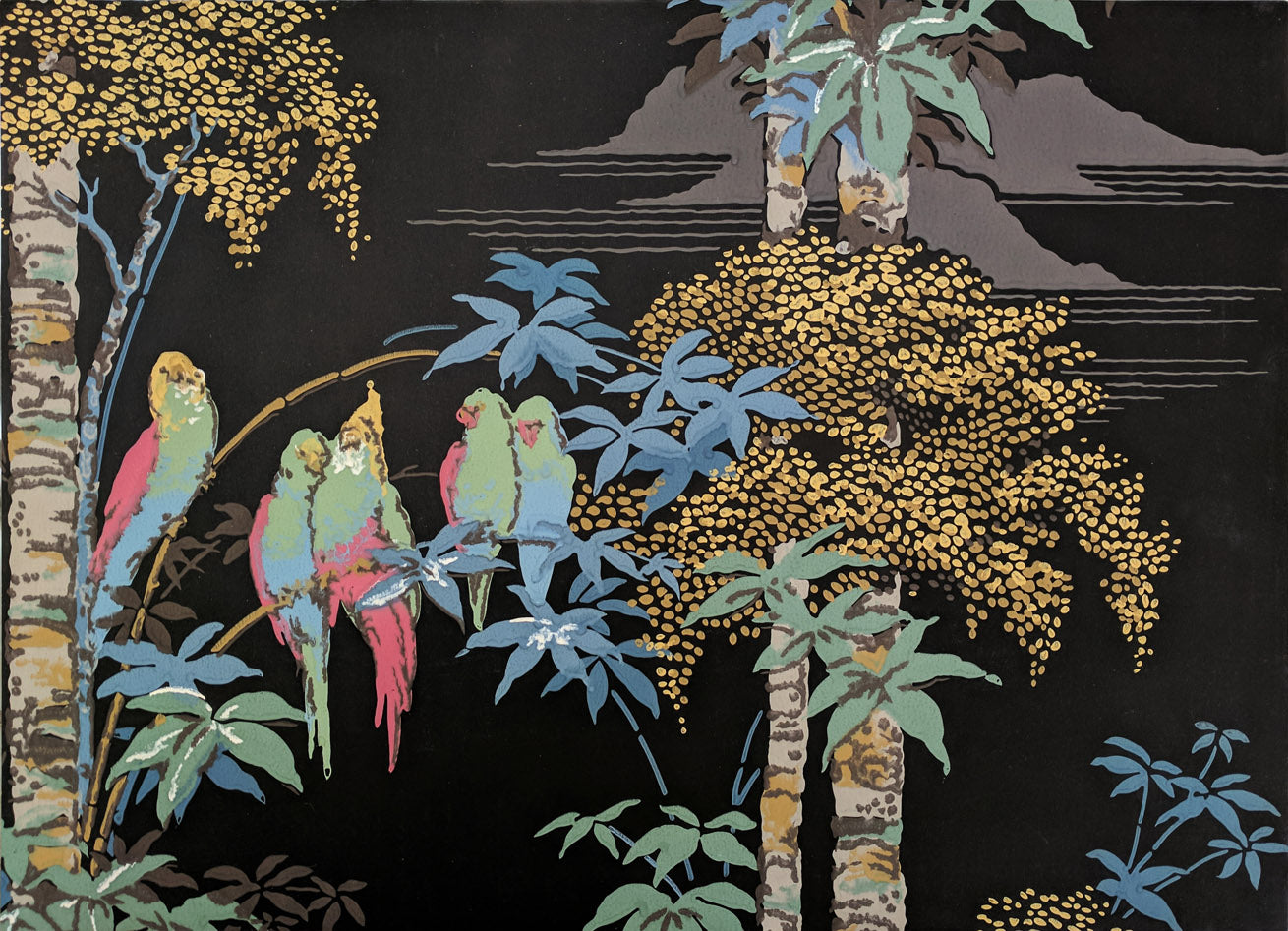 Parakeets in Palm Trees- Diptych - Mounted Antique Wallpaper Panel