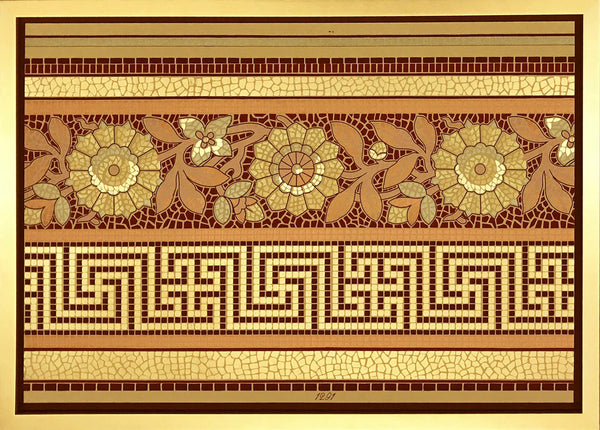 Greek Key and Floral Gilt Mosaic - Framed Antique Wallpaper Art - Sold