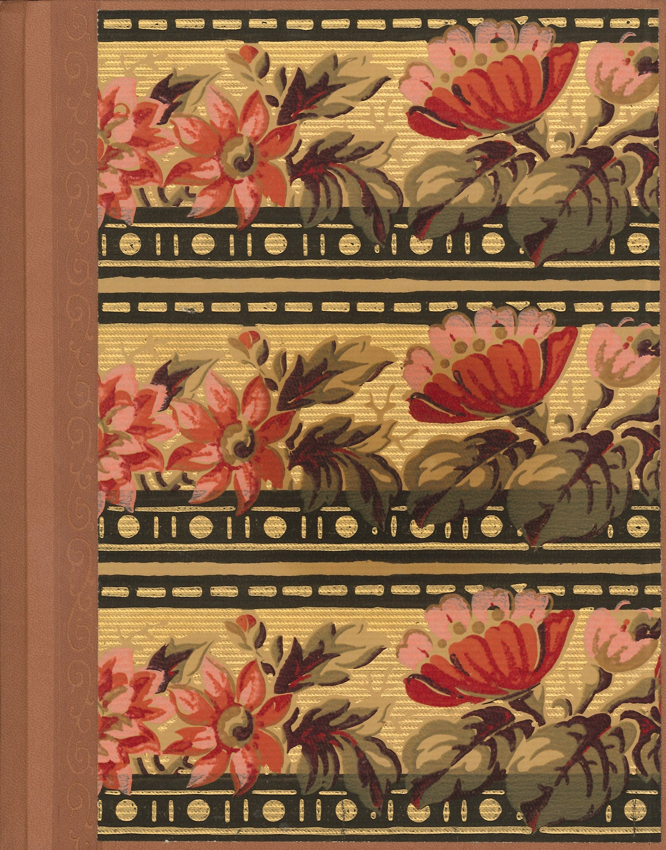"Floral Border Antique Wallpaper Journal - 8.5"" x 11"""