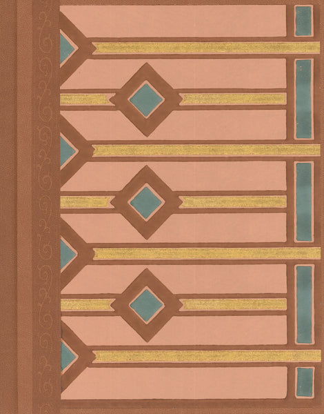"Geometric Pastel Antique Wallpaper Journal - 7"" x 9"""