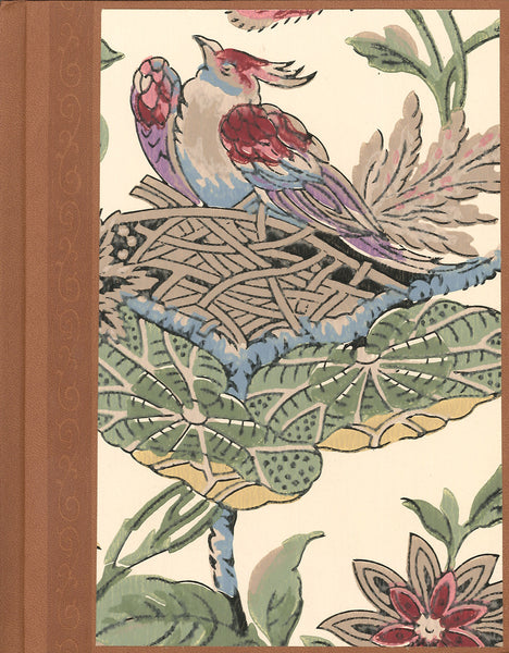 "Bird in Nest Antique Wallpaper Journal - 7"" x 9"""