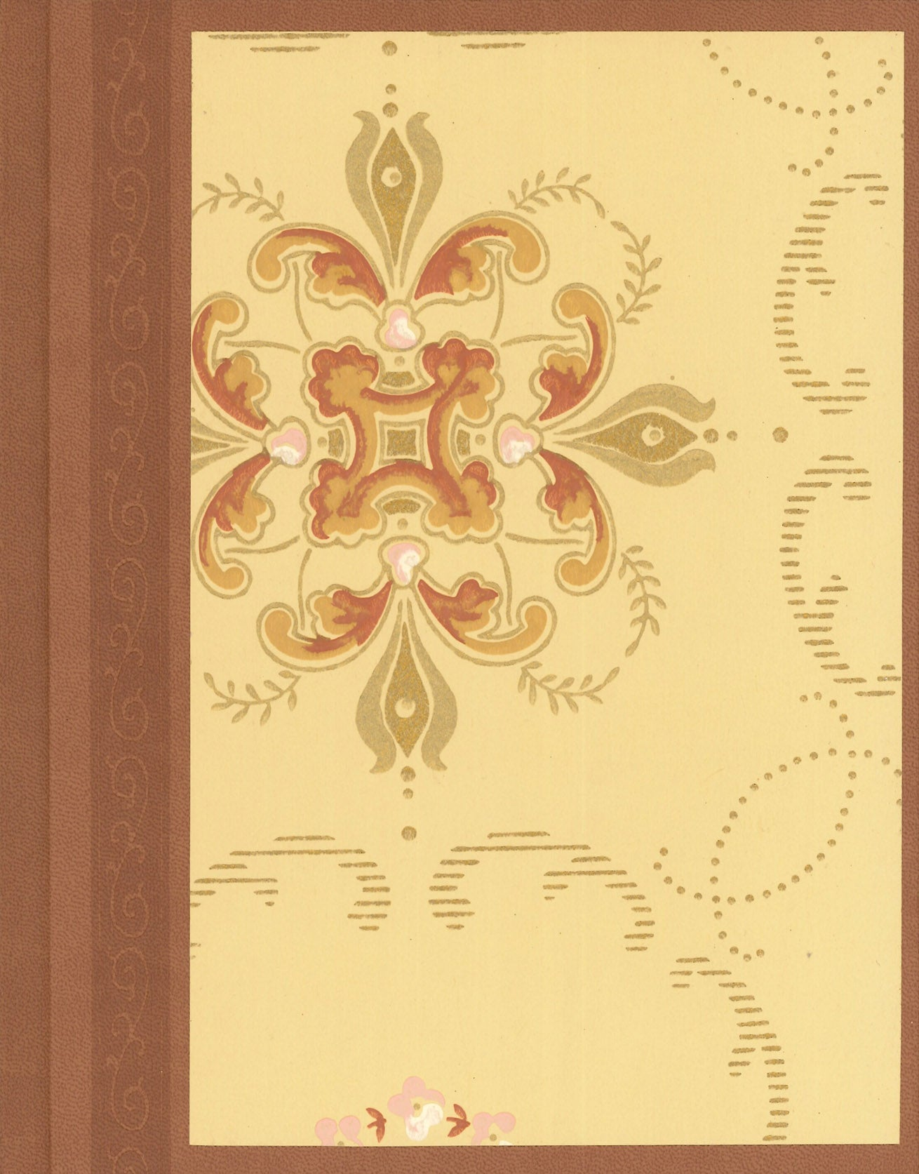 "Golden Antique Wallpaper Journal - 7"" x 9"""
