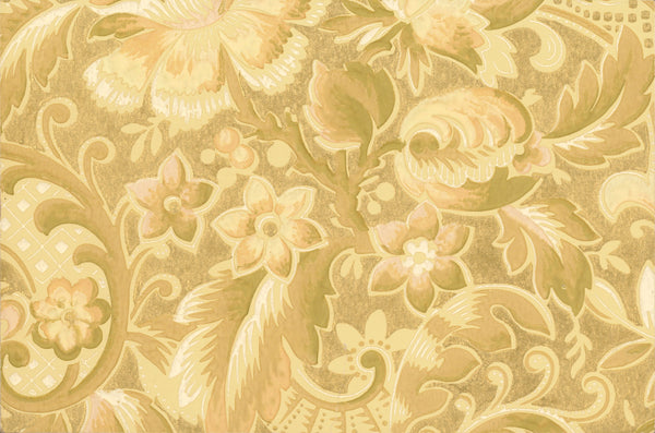 Floral Foliate Antique Wallpaper Accent Panel