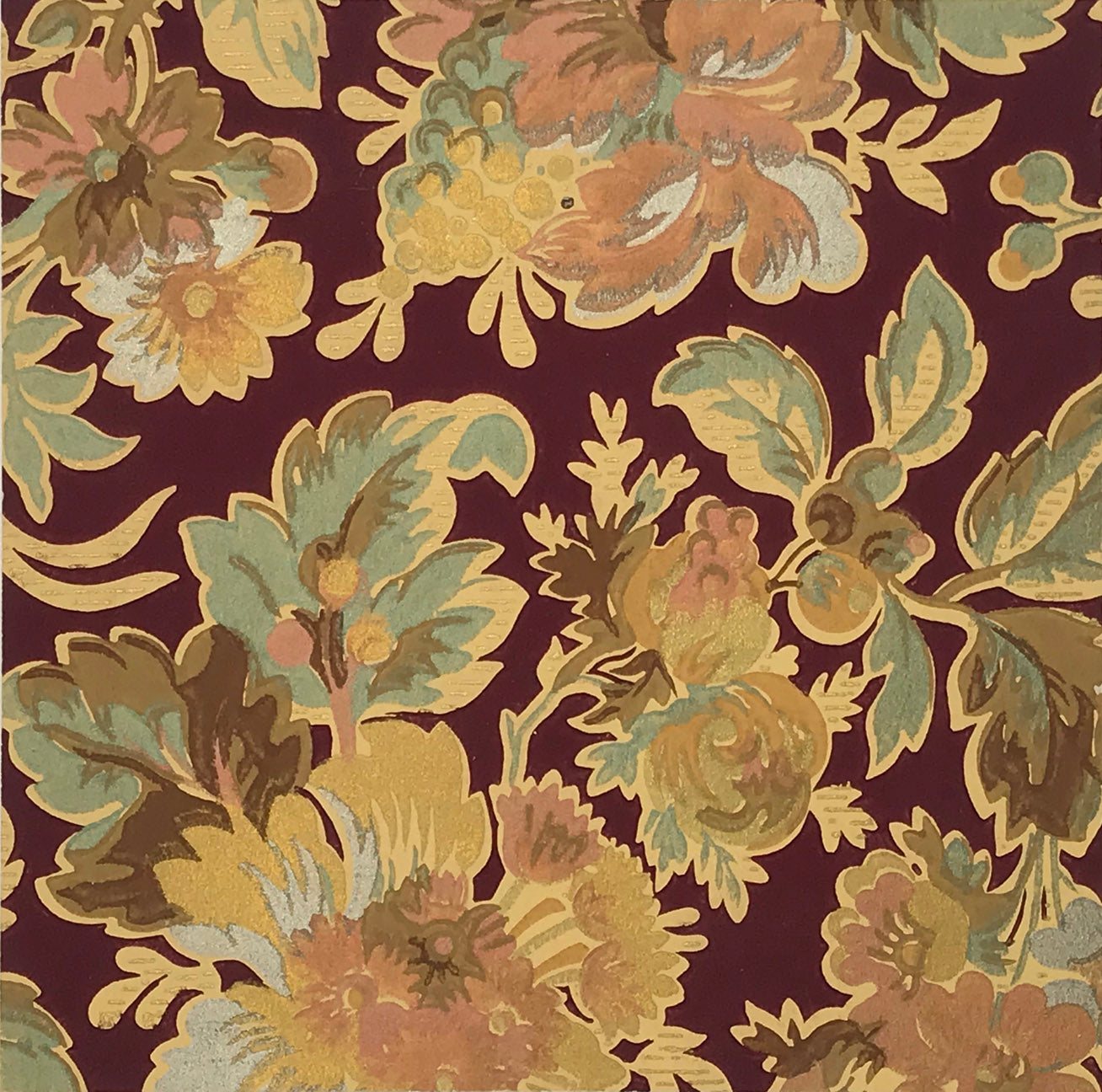Metallic Floral Wallpaper Accent Panel Bolling Company