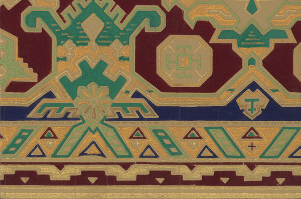 Boldly Hued Geometric Antique Wallpaper Accent Panel