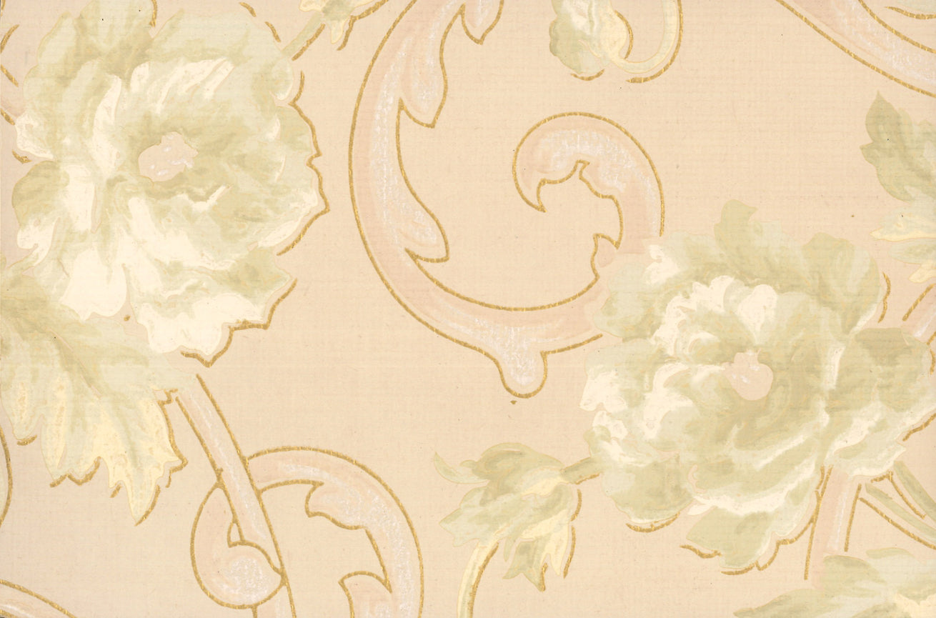 Floral Antique Wallpaper Accent Panel