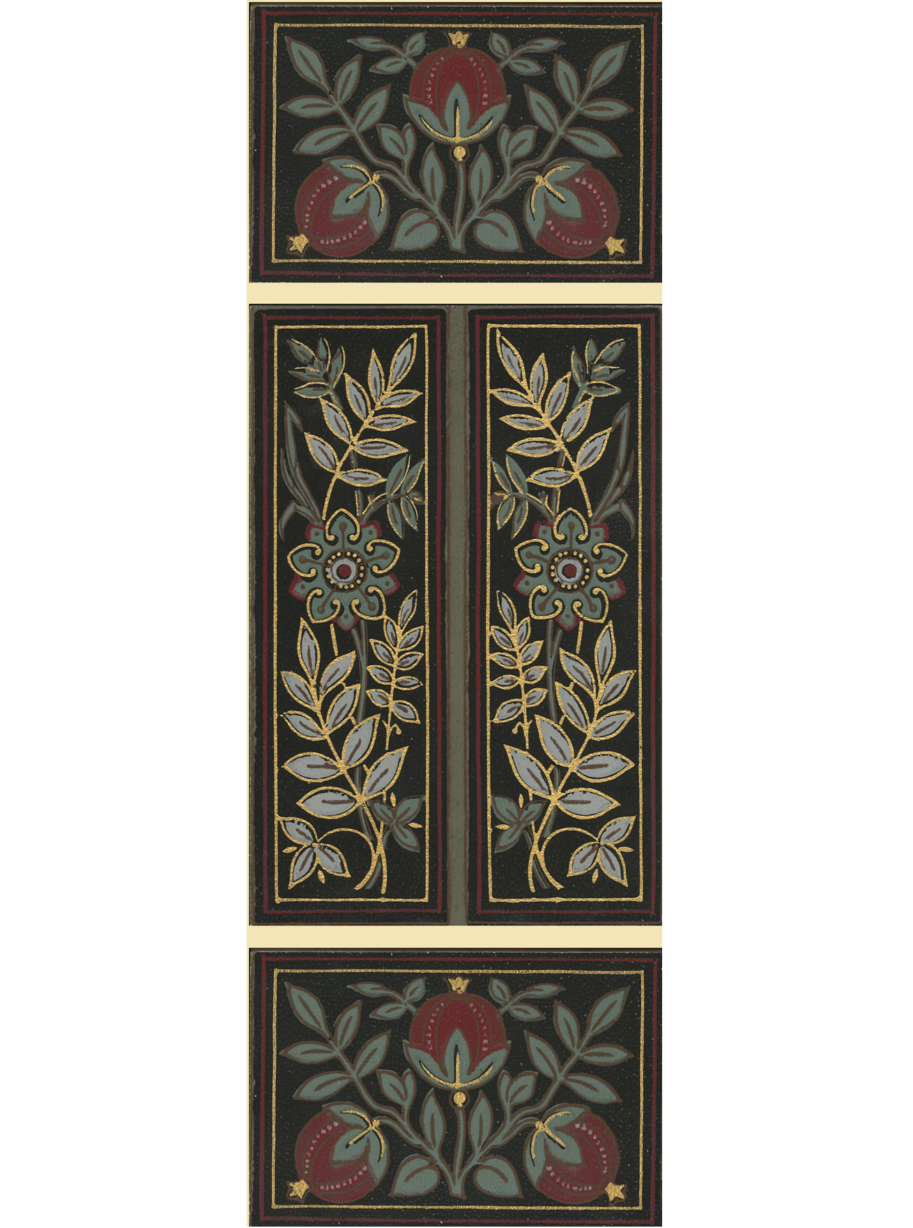 Gilt Aesthetic Tile Wallpaper Accent Panel - Triptych-SOLD