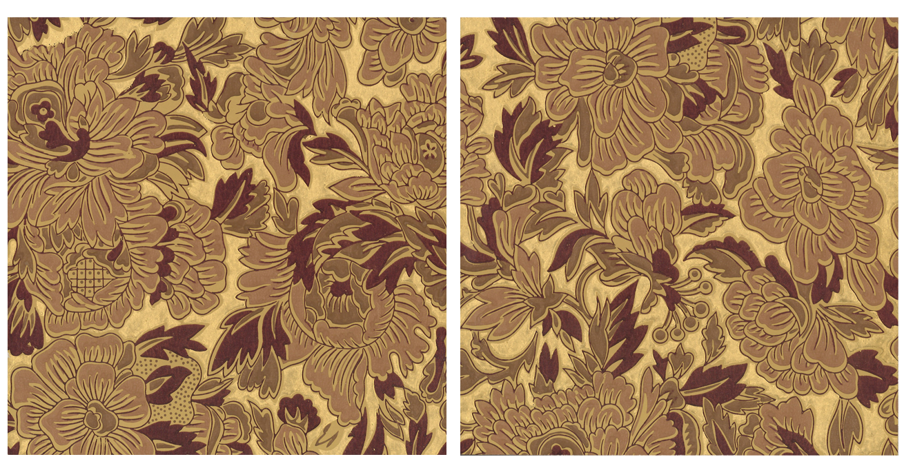 Gilt Floral Wallpaper Accent Panel - Diptych