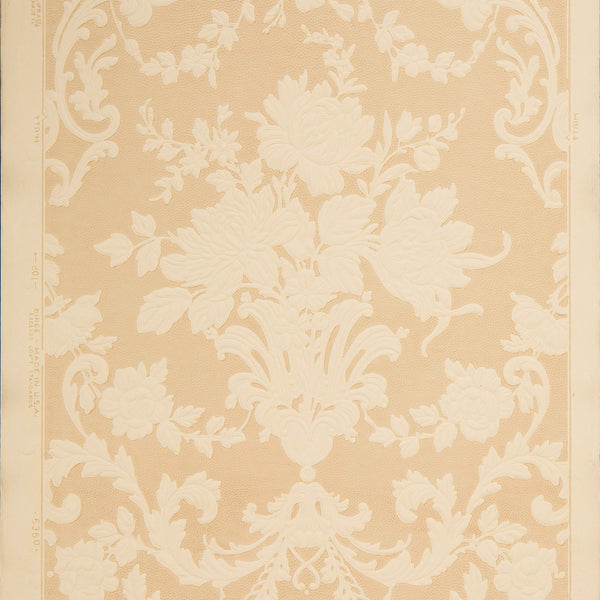 Embossed Floral Damask - Antique Wallpaper Remnant