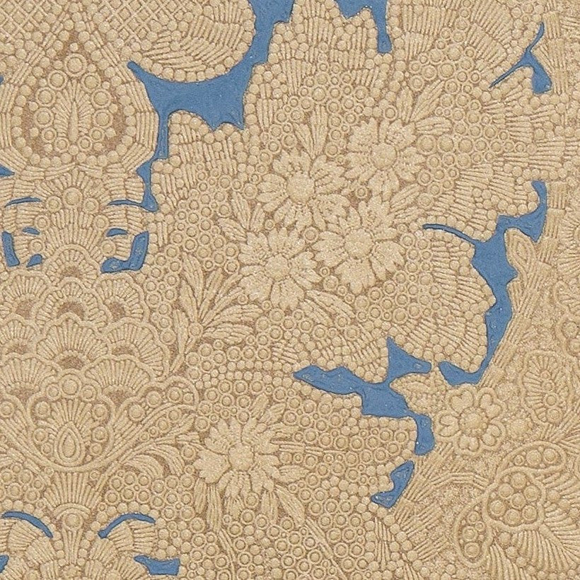 Intricately Tooled Embossed Damask - Antique Wallpaper Remnant