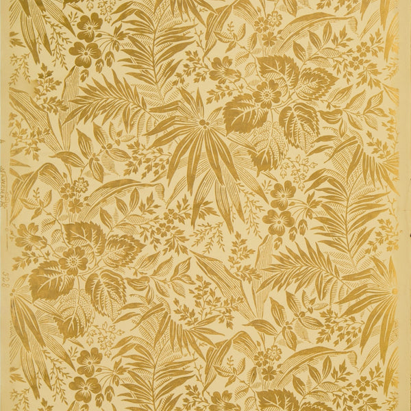 Gilt Flowers and Leaves - Antique Wallpaper Remnant