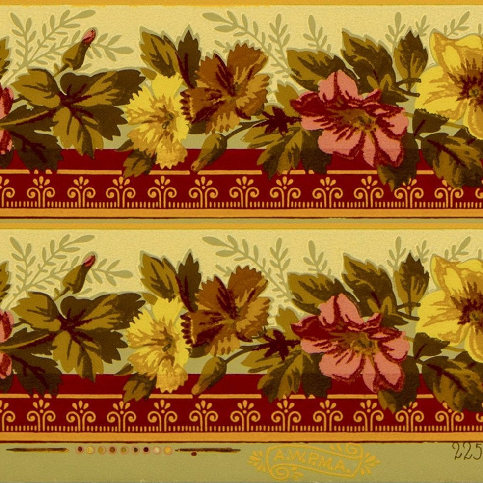 "5-Band 3-3/4"" Floral Border - Antique Wallpaper Roll"
