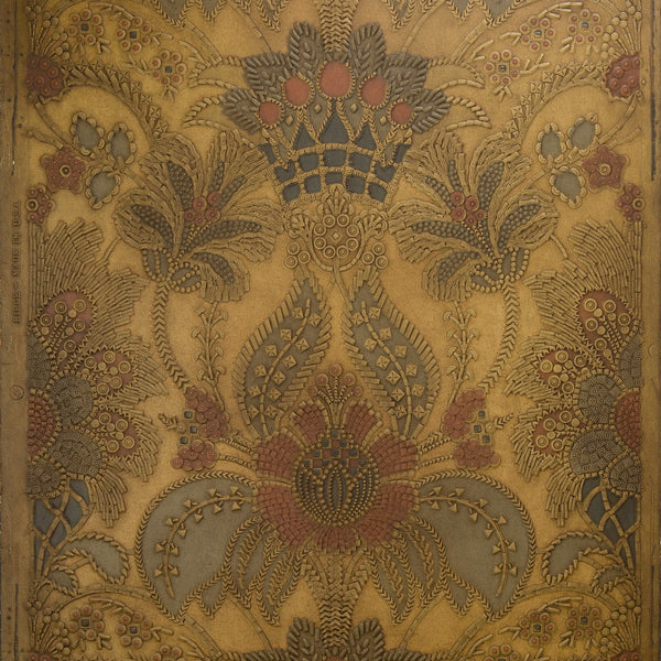 Tooled Leather Damask - Antique Wallpaper Remnant