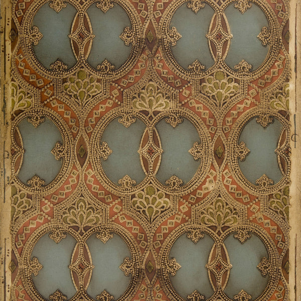 Tooled Dual-Oval Leather - Antique Wallpaper Remnant