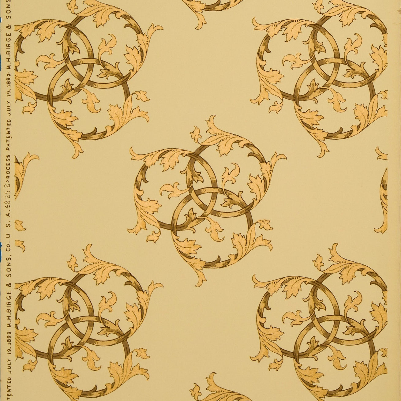 Ceiling with Gilt Interlocking Circles - Antique Wallpaper Remnant