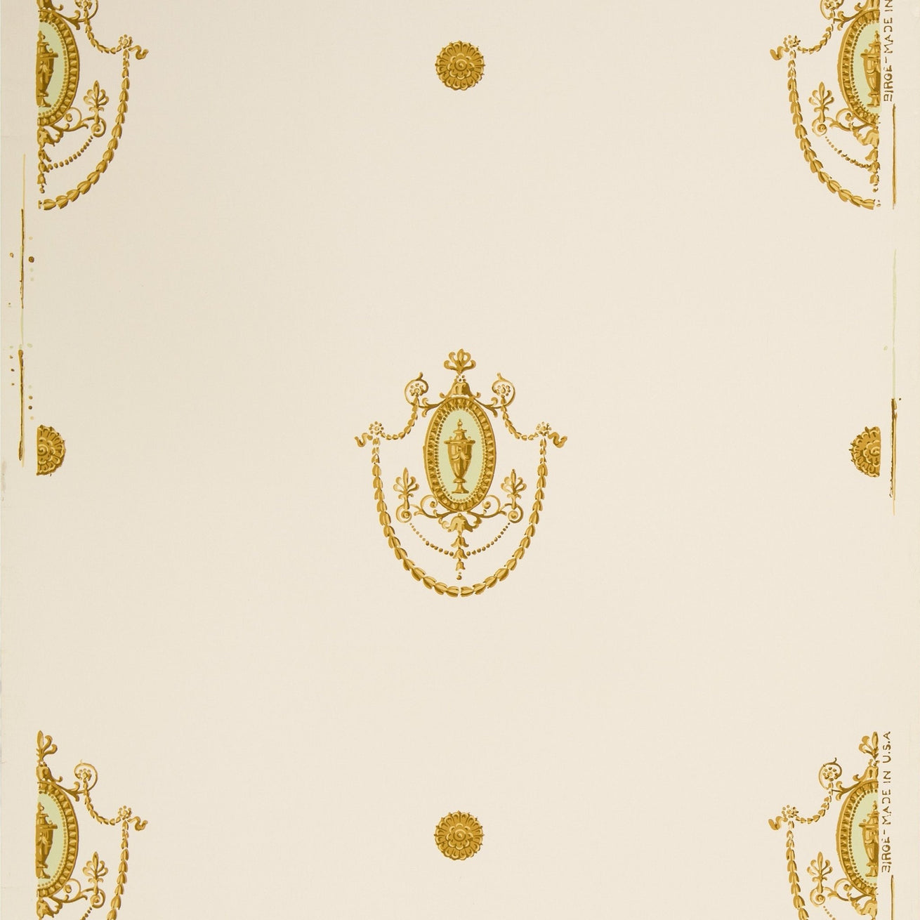 Gold Adam Ornamental Medallions - Antique Wallpaper Remnant