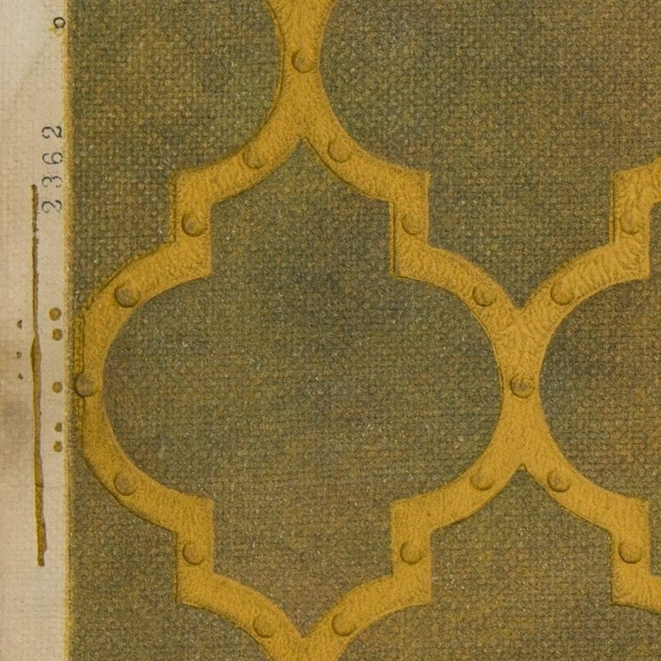 Gold Grille on Burlap - Antique Wallpaper Remnant
