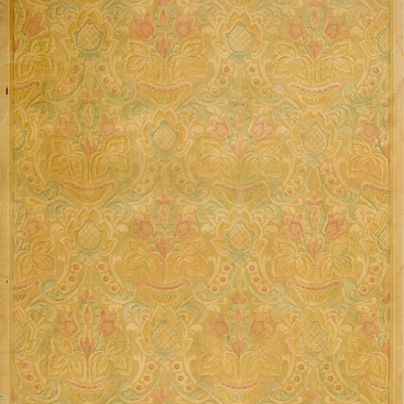 Embossed Baroque Floral - Antique Wallpaper Remnant