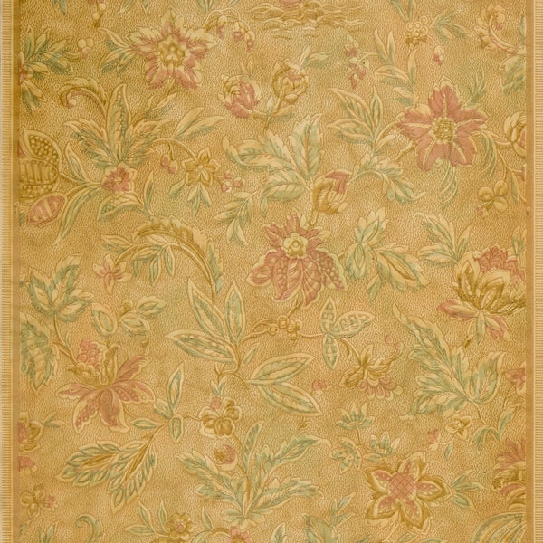 Embossed Flowers and Leaves - Antique Wallpaper Remnant