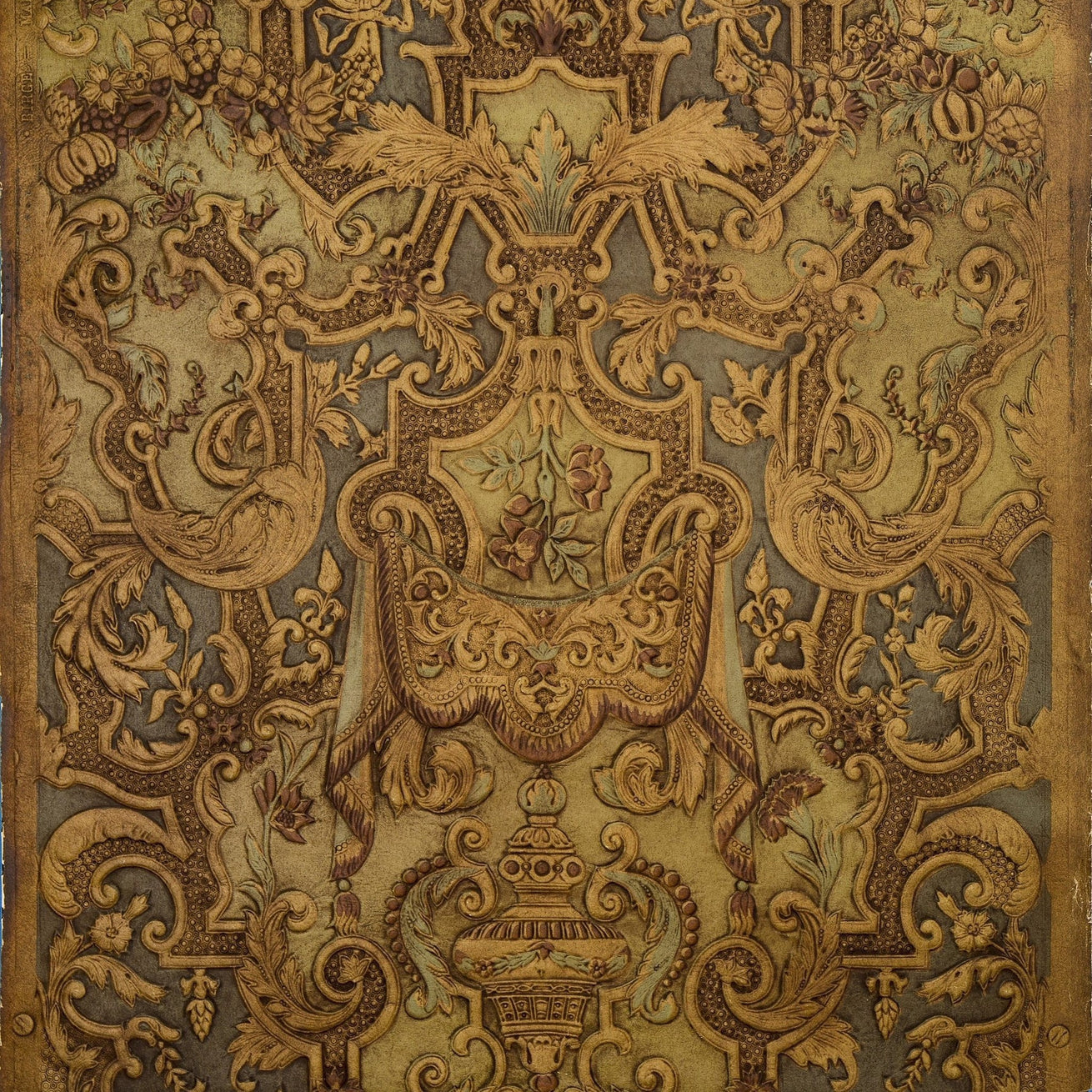 Spanish Embossed Leather - Antique Wallpaper Remnant