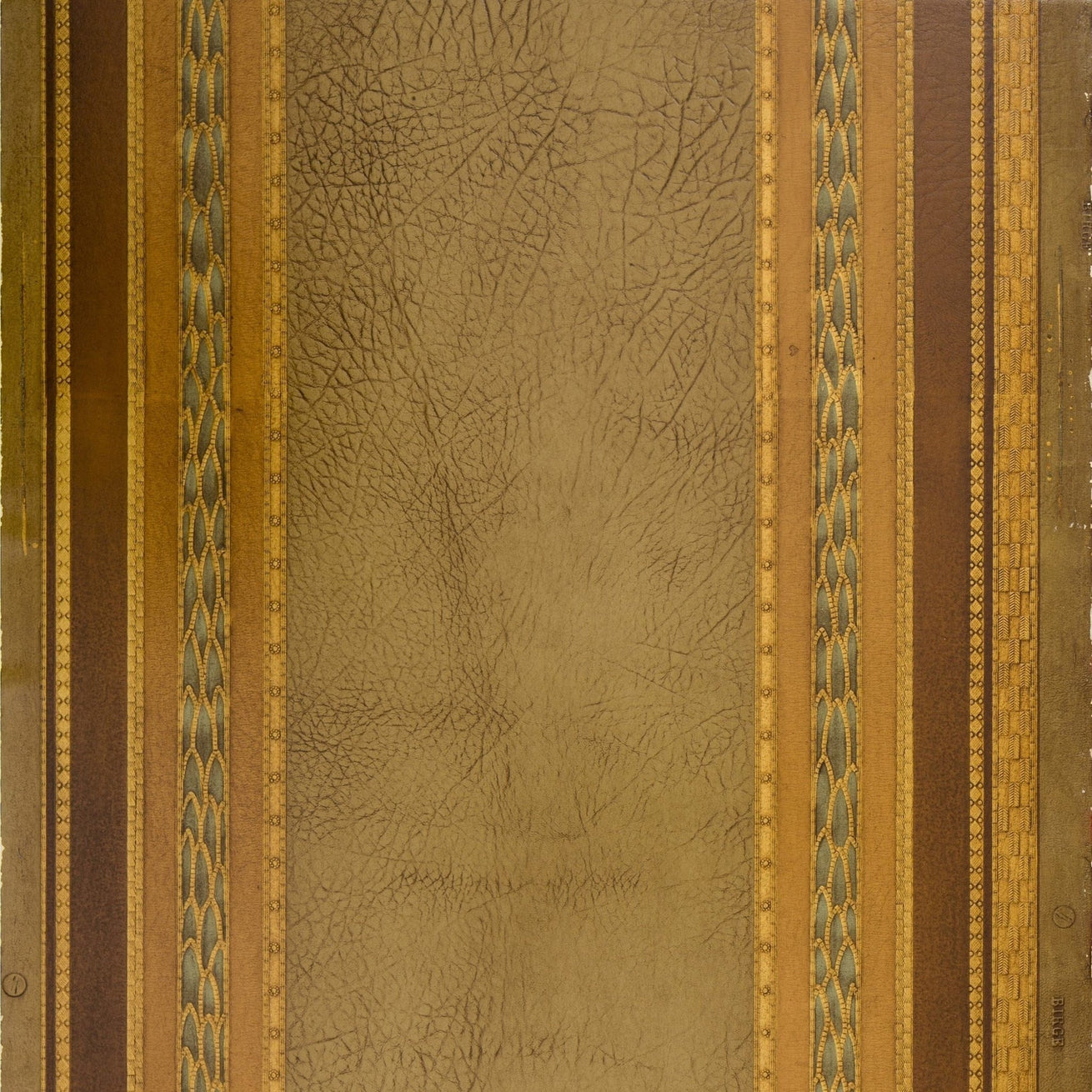 Leather with Bay Leaf Borders - Antique Wallpaper Remnant