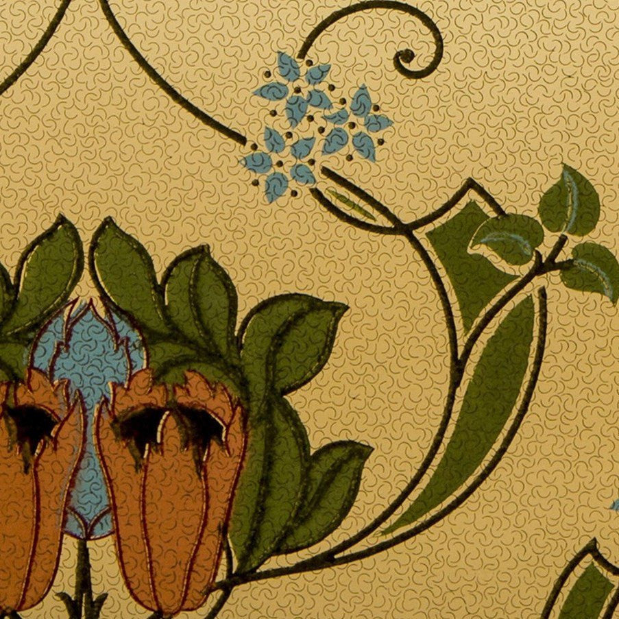 Stylized Floral Blended Frieze - Antique Wallpaper Remnant