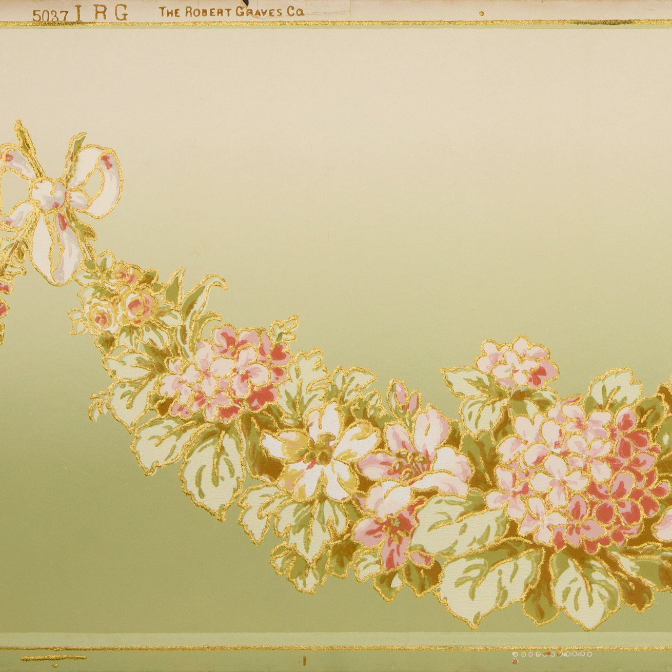 Blended Rose Swag Frieze - Antique Wallpaper Remnant
