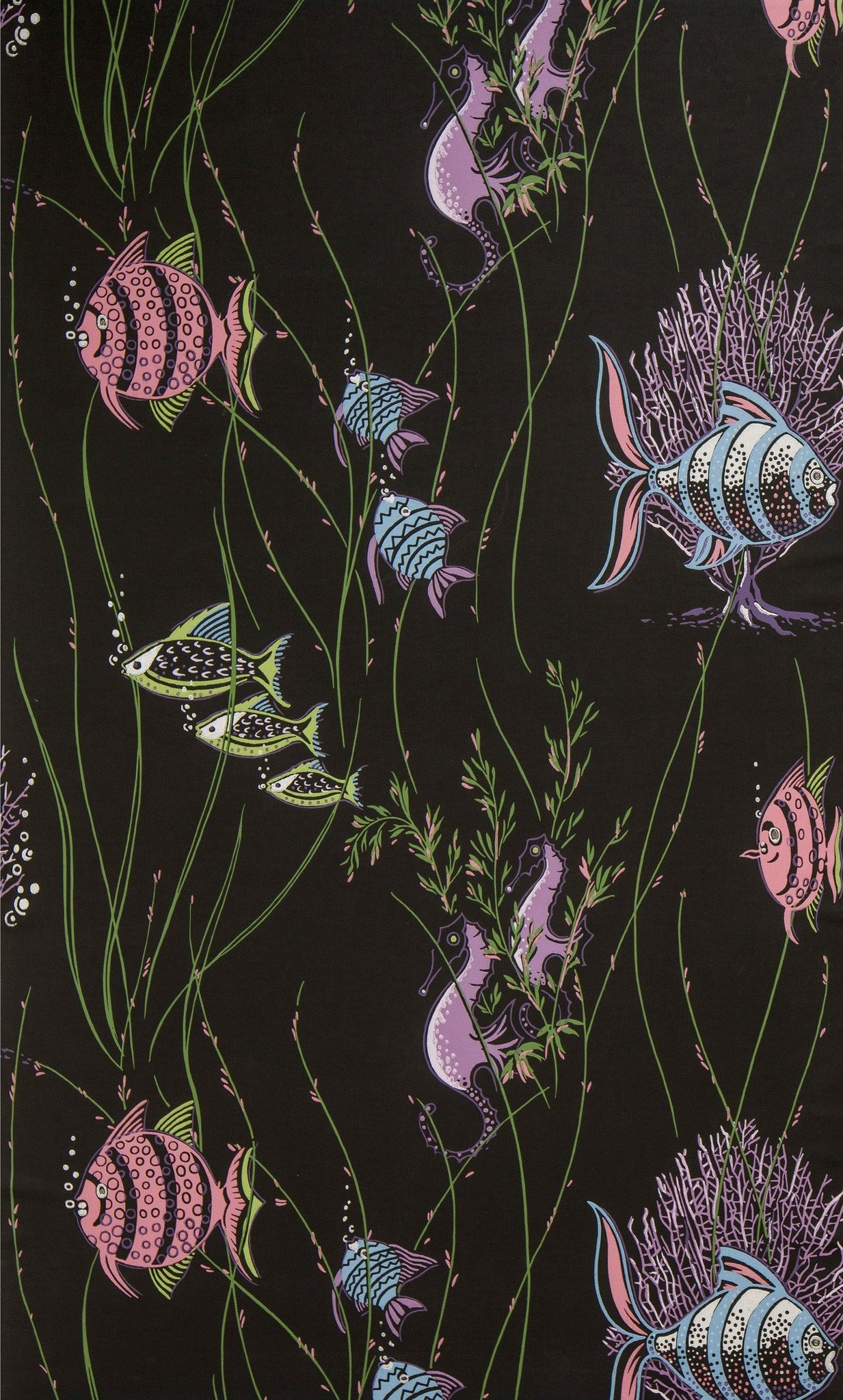 Aquatic Scene With Fish And Seaweed Vintage Wallpaper Bolling Company