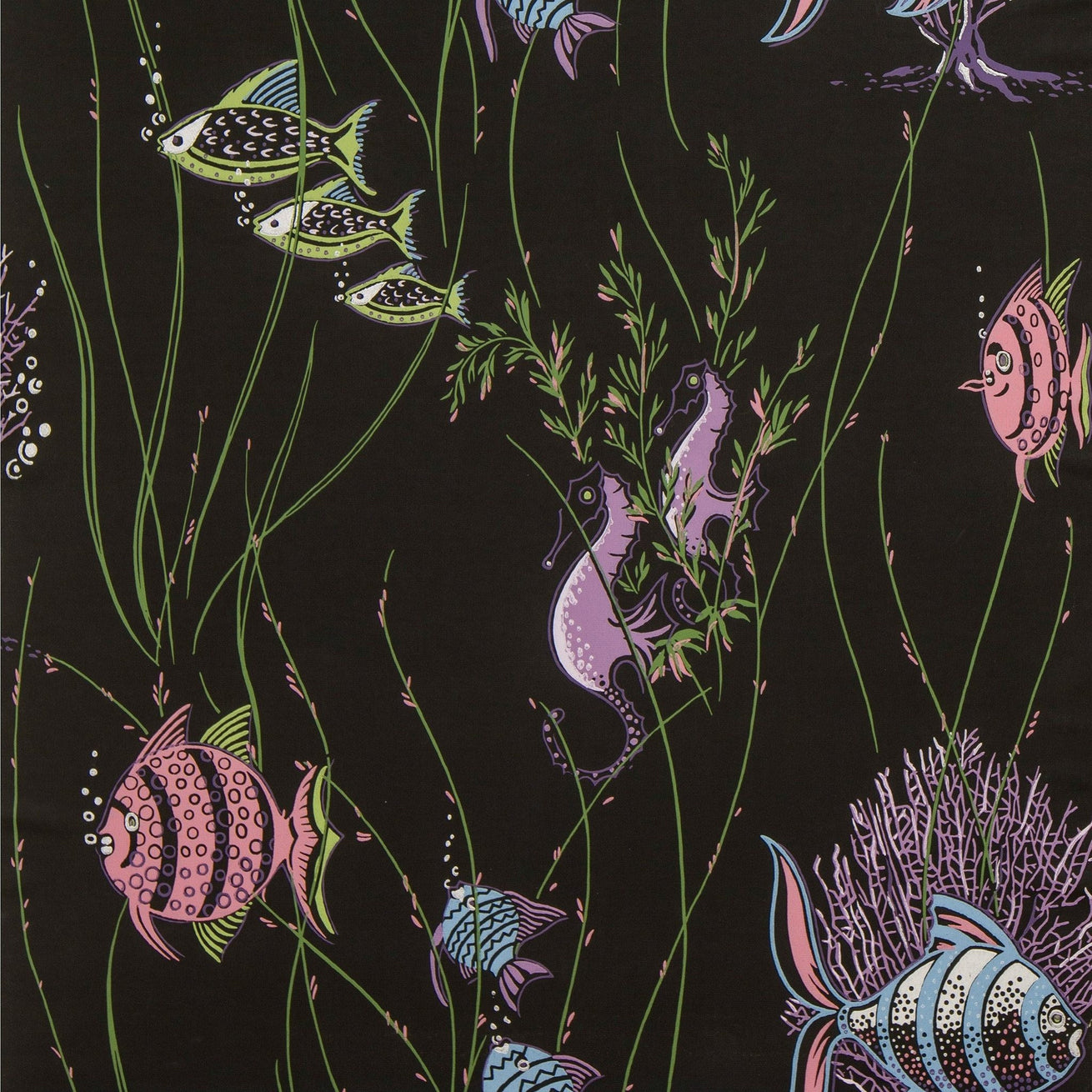 Aquatic Scene with Fish and Seaweed - Vintage Wallpaper Remnant