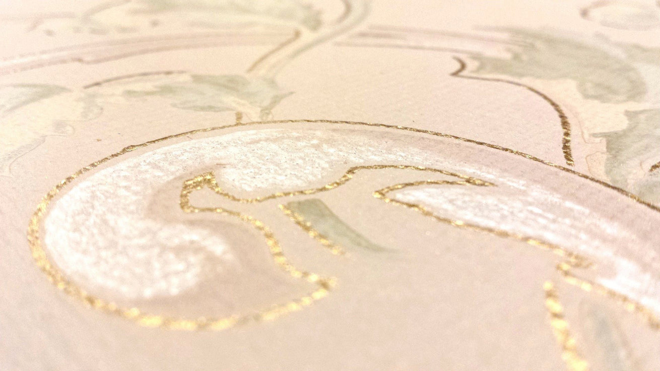 Embossed Gilt Scrolling Frieze - Antique Wallpaper Roll