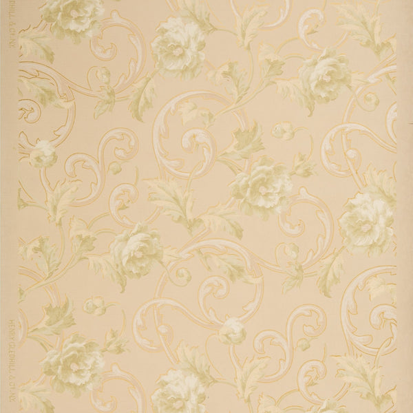 Pale Roses and Foliate Scrolls - Antique Wallpaper Remnant