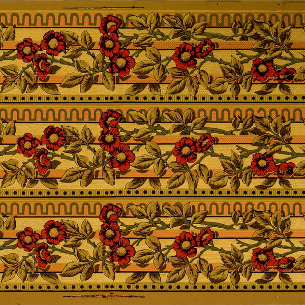 "3-Band 6-1/8"" Gilt Floral Border - Antique Wallpaper Remnant"