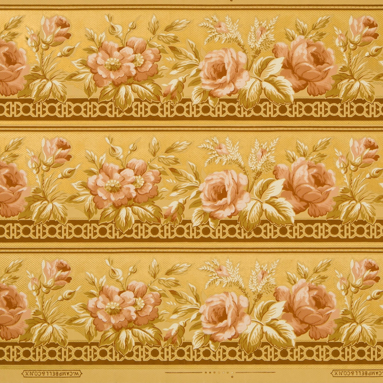 Blended 3-Band Border with Gilt Scrolls and Roses - Antique Wallpaper Remnant