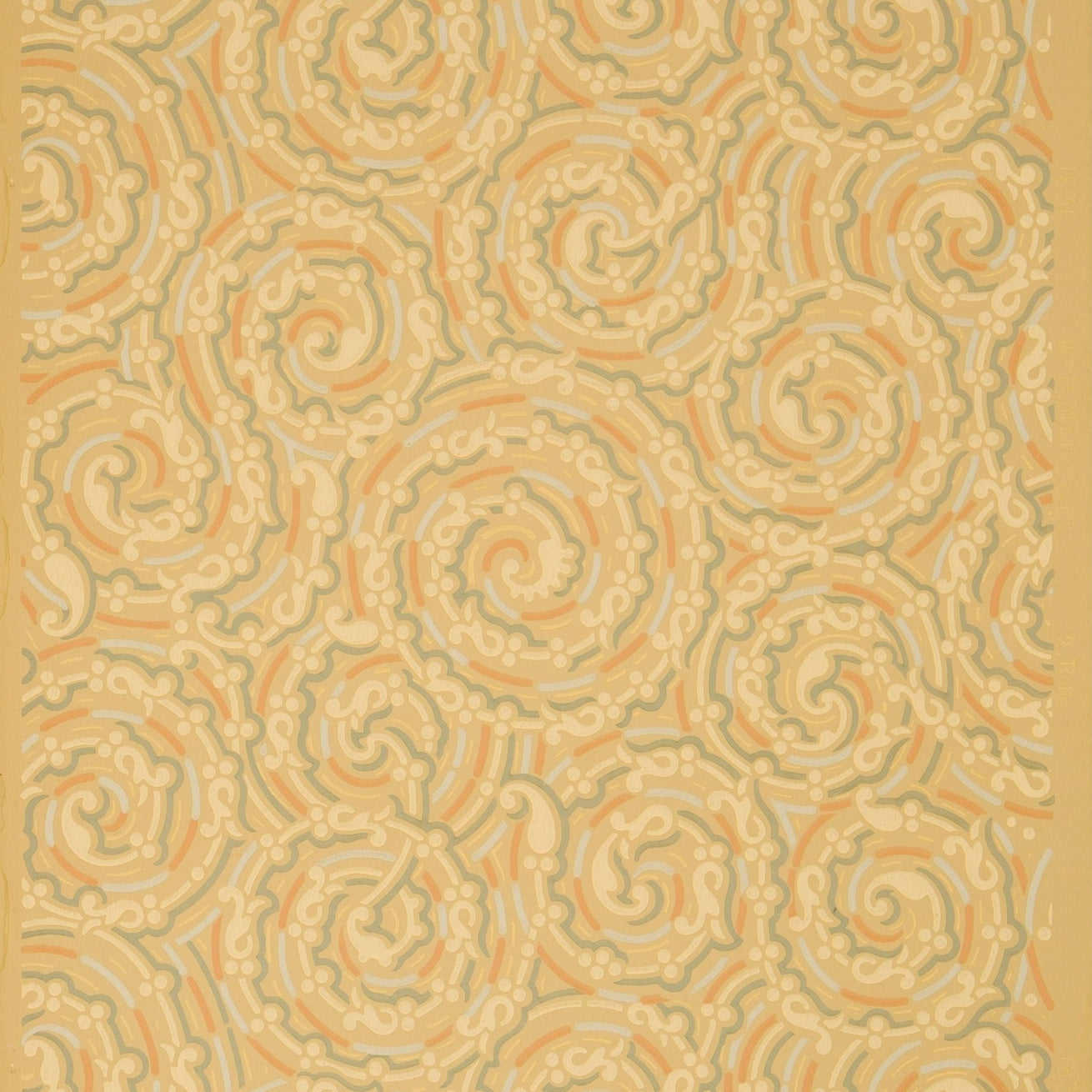Swirling All-Over Stylized Scrolls - Antique Wallpaper Remnant