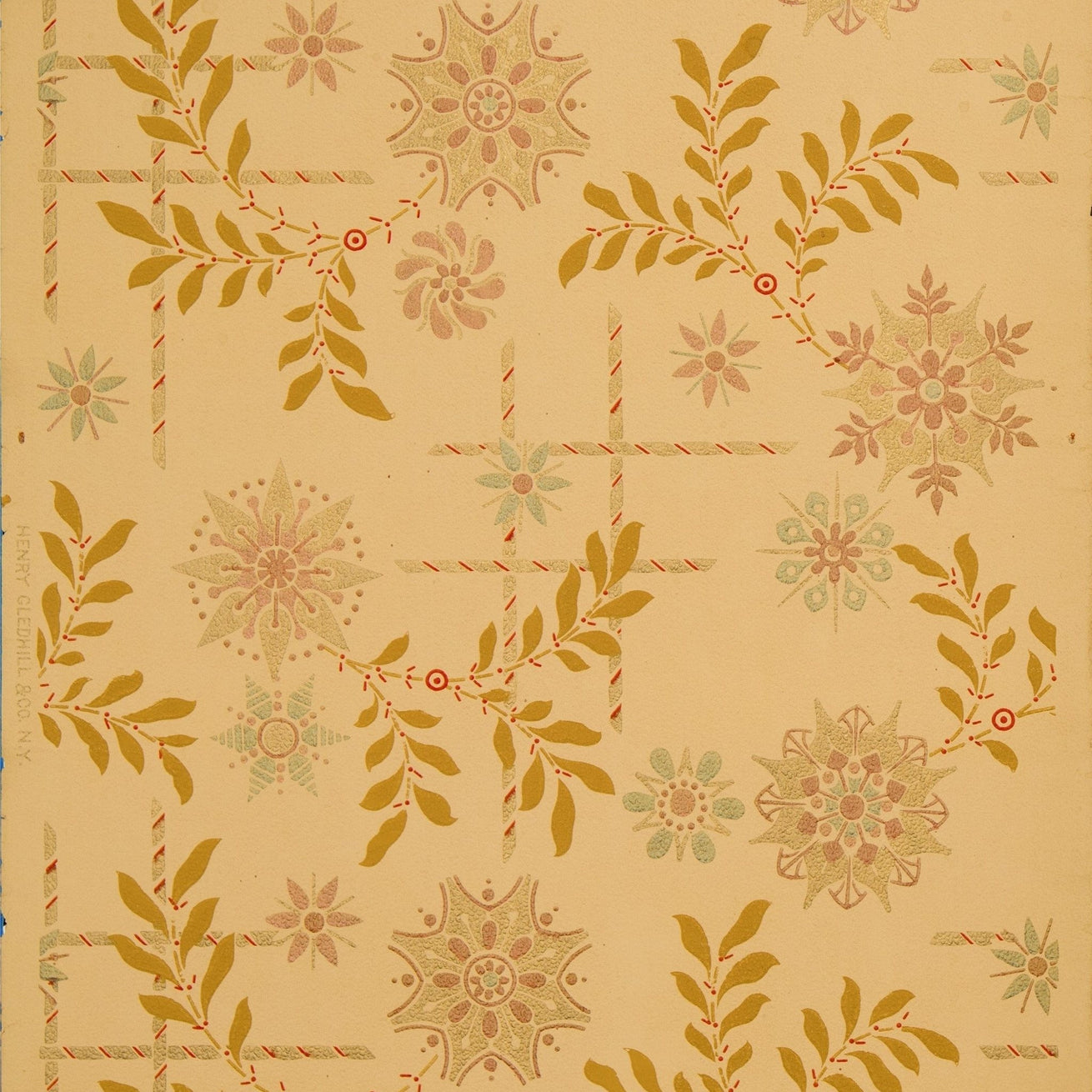 Conventionalized Florets with Leaves - Antique Wallpaper Remnant