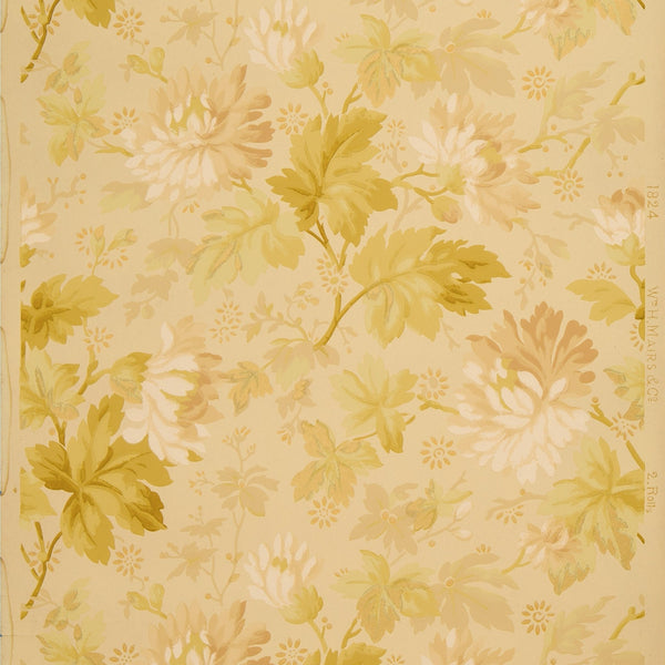 Flowers, Leaves and Branches - Antique Wallpaper Remnant