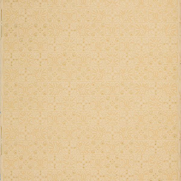 Network of Gilt Decorated Squares - Antique Wallpaper Remnant