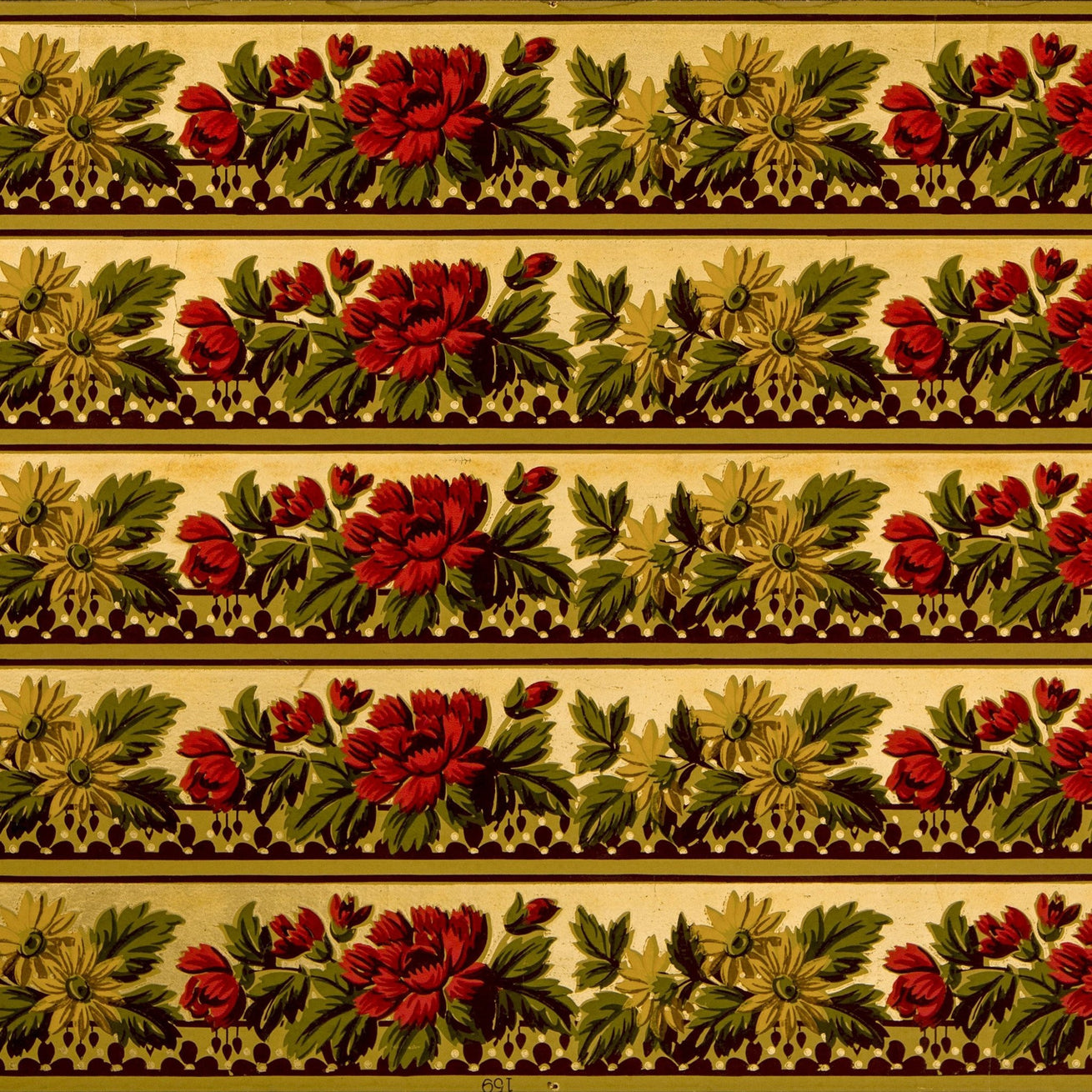 "5-Band 3-3/4"" Gilt Floral Border - Antique Wallpaper Rolls"