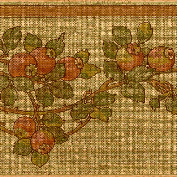 Hawthorn Berry Tapestry-Effect Frieze - Antique Wallpaper Remnant