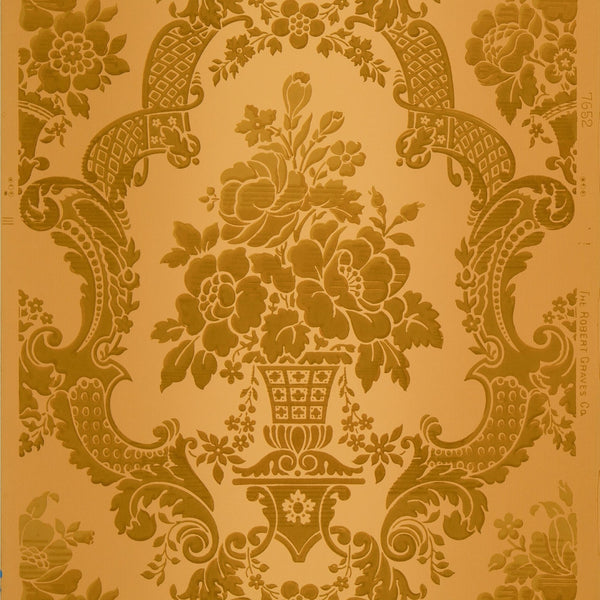Vertically Blended Damask - Antique Wallpaper Remnant