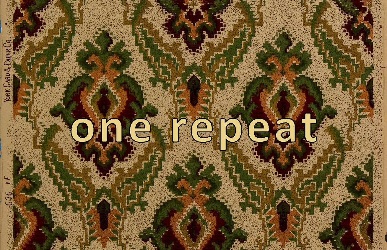 Kilim-Like Diamond Diaper Pattern - Antique Wallpaper Remnant