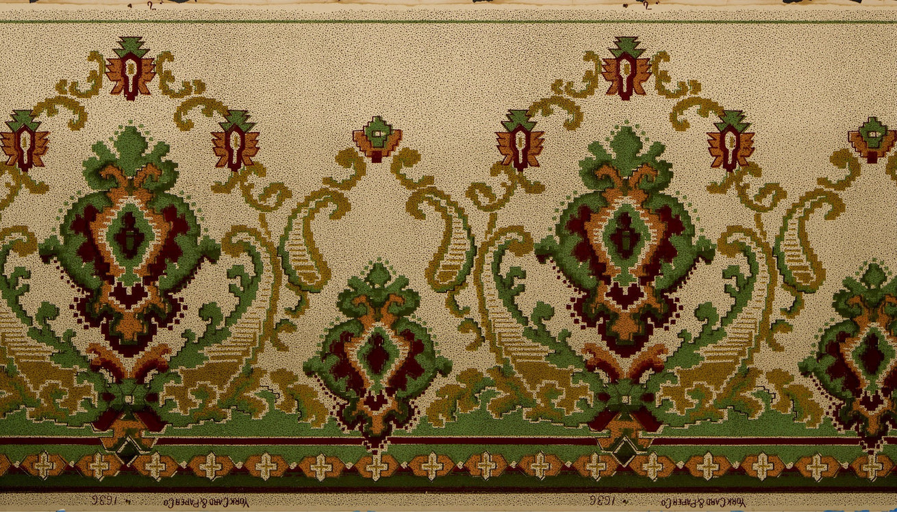 Kilim-Like Blended Frieze - Antique Wallpaper Remnant