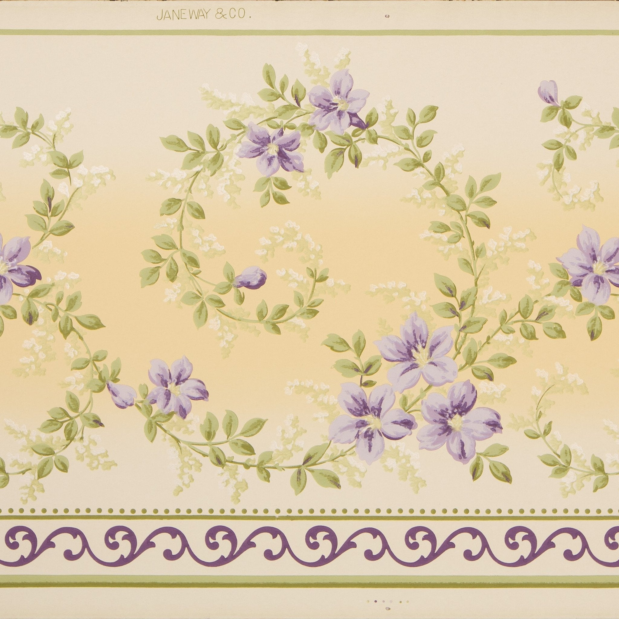 Delicate Scrolling Floral Frieze Antique Wallpaper Bolling Company